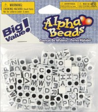 Alpha Beads- White & Black Square Letters, 6mm