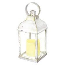 Lantern w/ LED Candle- White