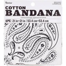 "Cotton Bandana 21""x21""- Paisley White"