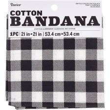"Cotton Bandana 21""x21""- White Buffalo Check"