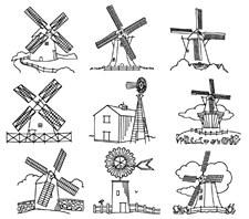 Aunt Martha's Iron On Transfers- Windmills #4000