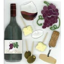 Jolee's Food & Drink Dimensional Stickers- Wine Tasting