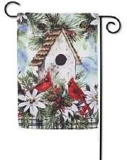 Holiday Garden Flag- Winter Birdhouse