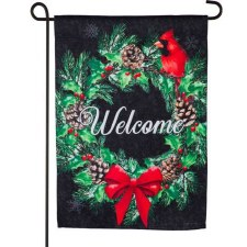 Holiday Garden Flag- Welcome Winter Wreath