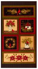 Christmas & Winter Fabric Panel- Winterberry Cardinal