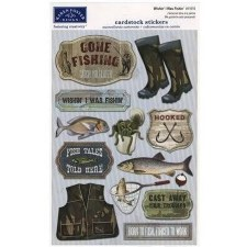 Cardstock Stickers- Wishin' I was Fishing