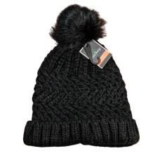 Women's Knit Hat w/ Pom- Black