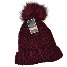 Women's Knit Hat w/ Pom- Burgundy
