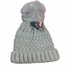 Women's Knit Hat w/ Pom- Grey