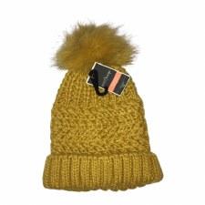 Women's Knit Hat w/ Pom- Mustard