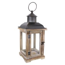 """Wood & Metal 16"""" Lantern"""