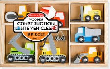 Melissa & Doug Wooden Toy Set- Construction Site Vehicles
