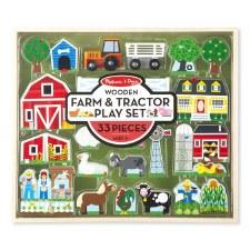 Melissa & Doug Wooden Play Set- Farm & Tractor