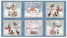 Christmas & Winter Fabric Panel- Woodland Buddies