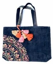 Embroidered Navy Velvet Bag