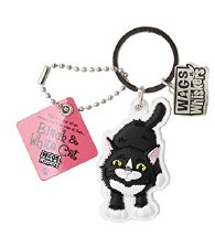 Wags & Whiskers Cat Keychain- Black & White Cat