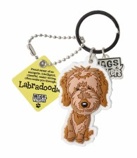 Wags & Whiskers Dog Keychain- Labradoodle