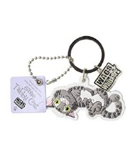 Wags & Whiskers Cat Keychain- Silver Tabby Cat, Crazy