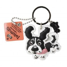 Wags & Whiskers Dog Keychain- Springer Spaniel, Black