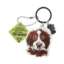 Wags & Whiskers Dog Keychain- Springer Spaniel, Brown