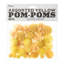 Assorted Pom-Poms- Yellow