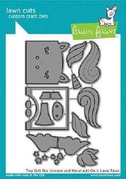 Lawn Fawn 3D Craft Dies- Tiny Gift Box Add-On, Unicorn/Horse