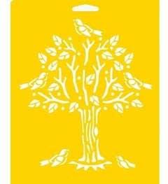Stencil Mania 7x10 Stencil- Tree with Bird