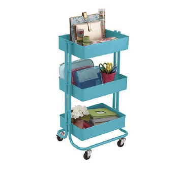 Rolling Utility Cart- Turquoise