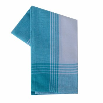 "McLeod Stripe 20""x28"" Tea Towel- White & Turquoise"
