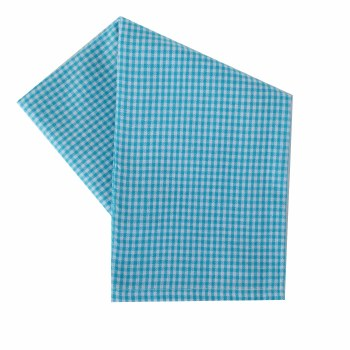 "Mini Check 20""x28"" Tea Towel- White & Turquoise"