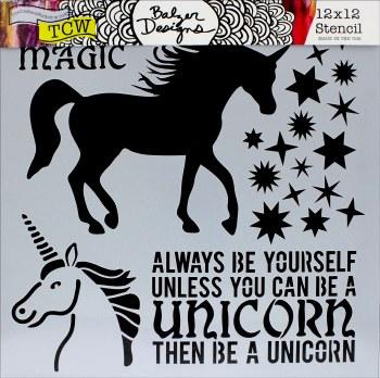 12x12 Stencil- Unicorns