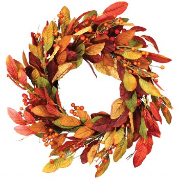"""Fall Wreath, 22""""- Leaves & Berry Stems"""
