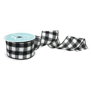Wired Ribbon Spool- Buffalo Check, Black & White