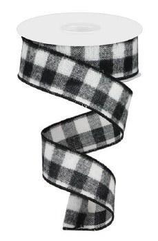 """Buffalo Check Flannel Ribbon, White & Black 10yds- 1.5"""""""