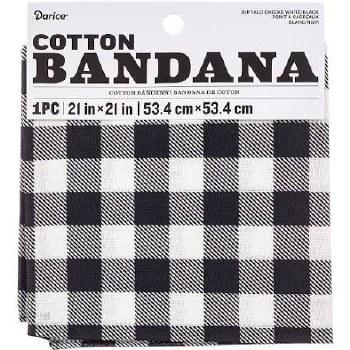 "Cotton Bandana 21""x21""- White Buffalo Check"