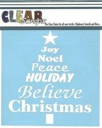 Clear Scraps 12x12 Stencil- Word Xmas Tree