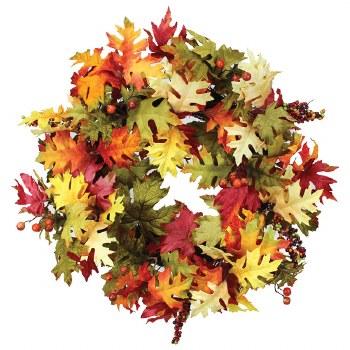 """Fall Wreath, 24""""- Maple & Oak Leaves"""