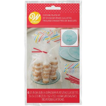 Treat Bags w/ Cookie Plates, 6ct- Snowflakes