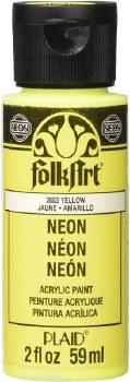 FolkArt 2 Oz. Acrylic Neon Paint- Yellow
