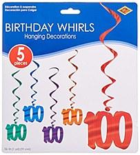 100th Birthday Whirls, 5ct