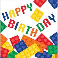 Block Party Happy Birthday Lunch Napkin, 16ct