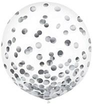 Metallic Silver Confetti Balloons