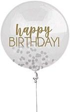"24""Silver & Gold Birthday Confetti Balloon"