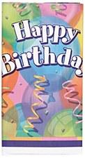 "Brilliant Birthday Plastic Table Cover 54"" x 84"""