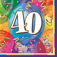 "Brilliant Birthday Luncheon Napkins ""40"" 16ct"