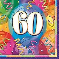 "Brilliant Birthday Luncheon Napkins ""60"" 16ct"
