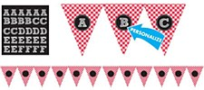 Picnic Red Gingham Personalized Pennant Banner