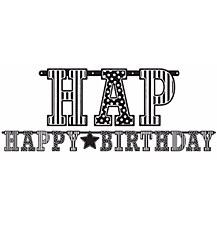 Giant Black & White Happy Birthday Letter Banner