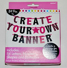 Black & Pink Customizable Letter Banner - Printed Paper