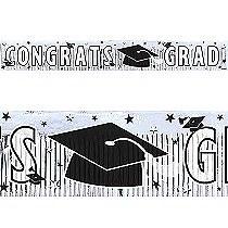 Grad Metallic White Fringe Banner 5ft